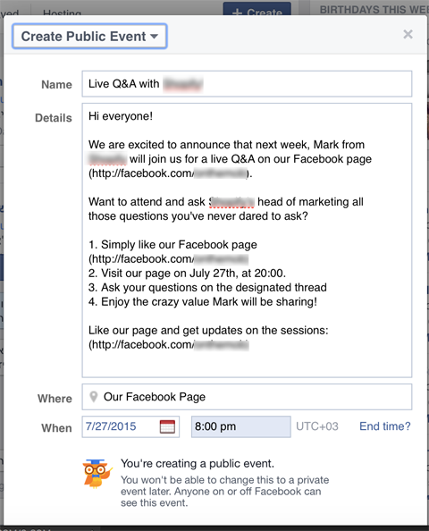 how to create public facebook event
