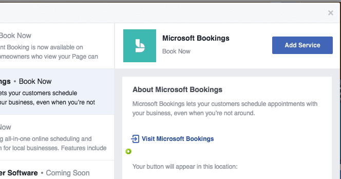 call-to-action button for Facebook pages