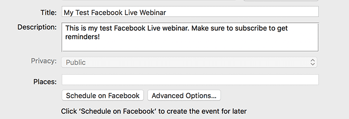 Facebook Live Videos and Webinars